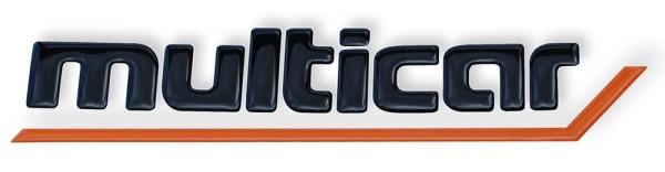 Schriftzug Schwarz / Orange, selbstklebend für Multicar M24 und M25
