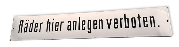 """Emailleschild """"Räder hier anlegen verboten"""""""